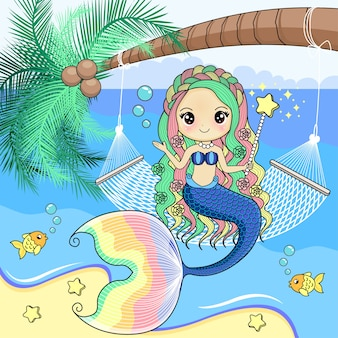 The mermaid sits on a cradle of rope tied to a coconut tree.