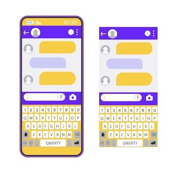 Окно мессенджера на экране телефона. онлайн-общение с чат-ботом