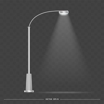 Металлический фонарь светится. фонарный столб с реалистичным светом. .