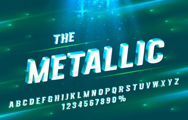 メタリックフォントセットコレクション文字と数字記号ベクトル