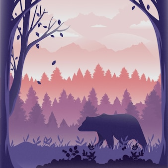 숲의 강력한 곰
