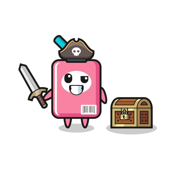 宝箱の横に剣を持っているミルクボックスの海賊キャラクター、tシャツ、ステッカー、ロゴ要素のかわいいスタイルのデザイン