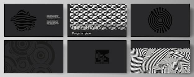 프레젠테이션 슬라이드의 최소한의 추상적인 벡터 일러스트레이션 레이아웃은 비즈니스 템플릿을 디자인합니다. 동적 구성과 최소한의 평면 스타일의 트렌디한 기하학적 추상 배경.
