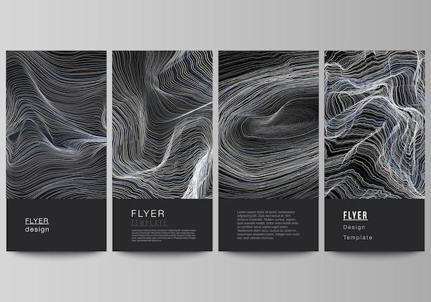 チラシバナーデザインテンプレートの編集可能なレイアウトの最小限のベクトルイラストスムーズ...