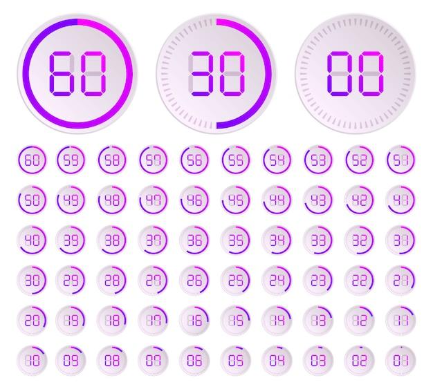 Минуты, значок вектора секундомера, цифровой таймер.