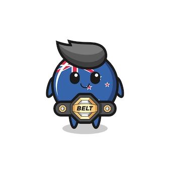 벨트가 있는 mma 전투기 뉴질랜드 국기 배지 마스코트, 티셔츠, 스티커, 로고 요소를 위한 귀여운 스타일 디자인