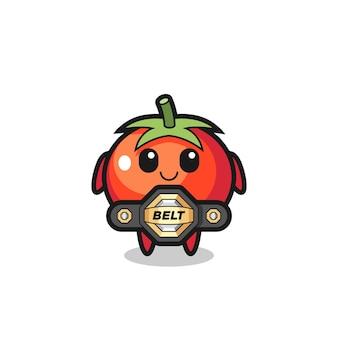 Талисман помидоров бойца мма с поясом, милый стиль дизайна для футболки, наклейки, элемента логотипа
