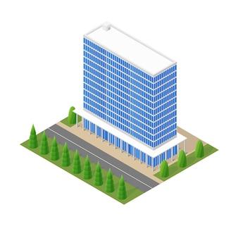 アイソメトリックのモダンなガラスの建物のモデル。オフィスビル。木々と家の周りの道。柱のある家。ベクトルイラスト。