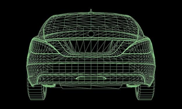 モデルはプレミアムセダンを搭載。黒の背景に緑の多角形の三角形のグリッドの形でベクトル図。