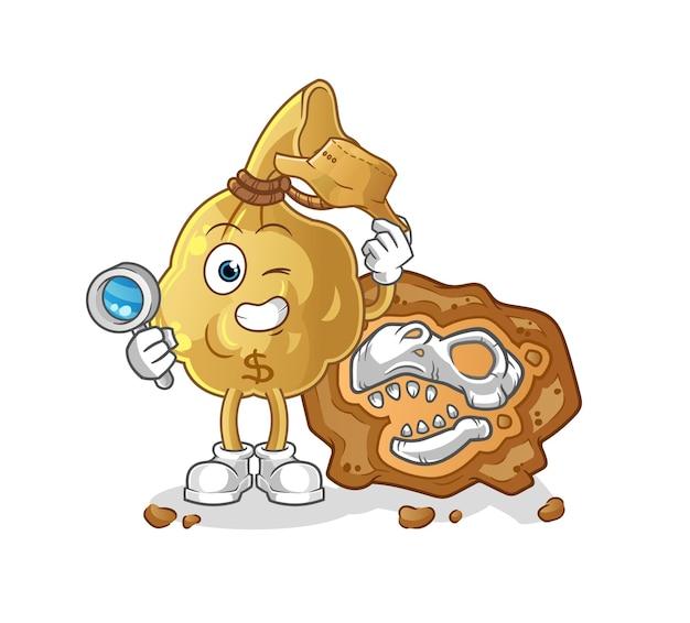 化石のキャラクターのマスコットを持つお金の袋の考古学者