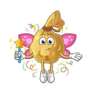 翼と棒でお金袋の妖精。漫画のマスコットマスコット