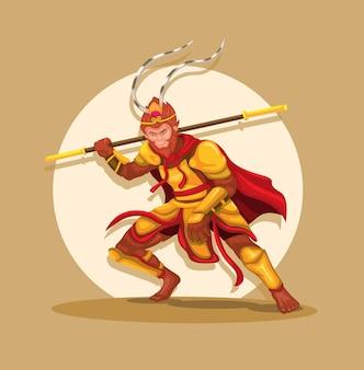 원숭이 왕 일명 Sun Wu Kong은 중국 문화 문자 벡터의 전설적인 신화적 인물입니다. 프리미엄 벡터