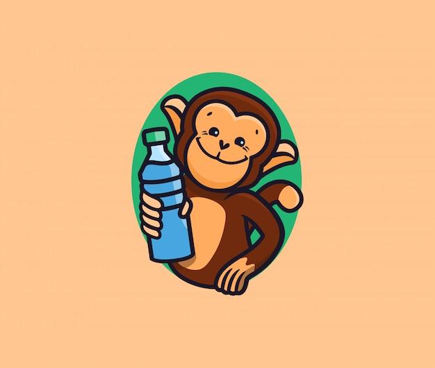 Обезьяна с логотипом воды. логотип с буквами, забавное животное, мультипликационный персонаж