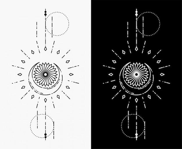 月と花の幾何学的な入れ墨