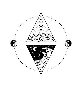 月と太陽のタトゥーモノラインデザイン
