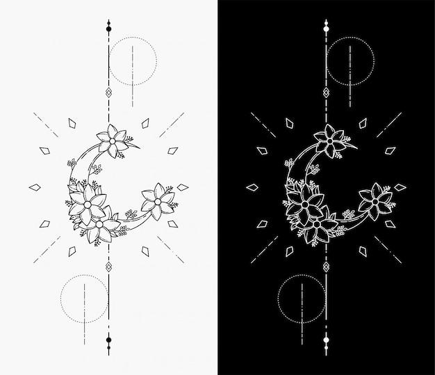 月の幾何学的な入れ墨