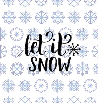 Самое замечательное время года дизайн надписи на фоне снежинок. рождество или новый год бесшовные модели. с праздником типография для шаблона поздравительной открытки или концепции плаката.