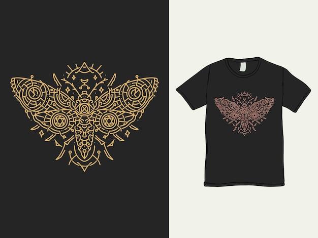 나방 패턴 monoline tshirt 디자인