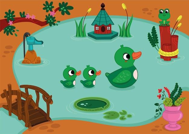 アヒルの母と赤ちゃんは素敵なプールで泳いでいます