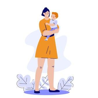 어머니는 아기를 팔에 안고 있습니다. 행복한 건강한 모성 개념