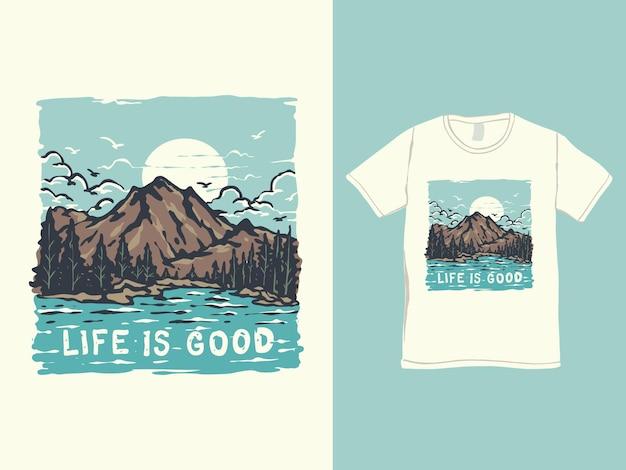 山と湖のパノラマtシャツのデザイン