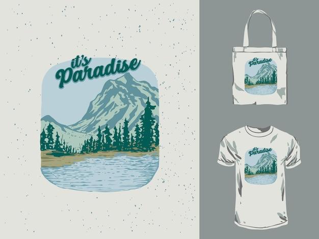 Иллюстрация горный пейзаж рай