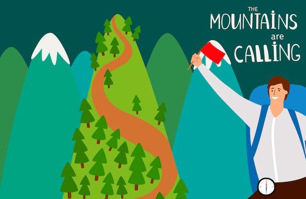Горы вызывают фон со счастливым человеком и горами