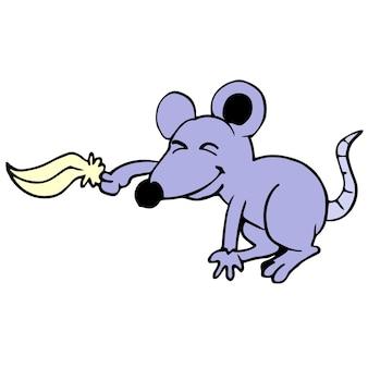 마우스가 간지럽히기 위해 모피로 농담을 하고 있습니다. 만화 그림 스티커 마스코트 이모티콘