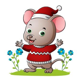 마우스가 스웨터를 입고 삽화의 손을 흔들고 있다