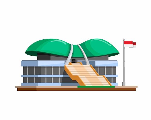 Mprdprインドネシアの立法のための政府の建物。白い背景の上の漫画フラットイラストのシンボルコンセプト