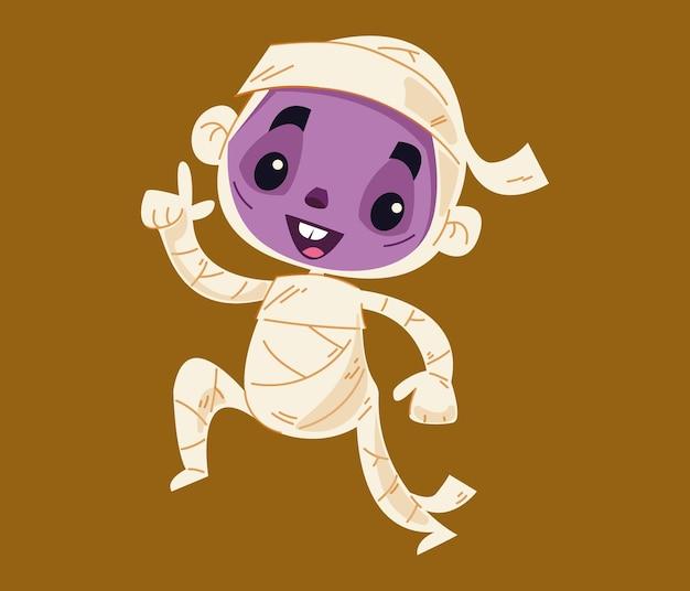 Мумия фараона танцует сальсу. мультипликационный персонаж-монстр. детские хеллоуинские вечеринки. векторные иллюстрации в мультяшном стиле для детей. изолированные забавный клипарт на белом фоне ребенка