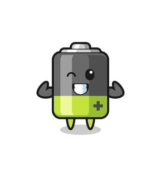 Персонаж с мышечной батареей позирует, показывая свои мышцы, симпатичный дизайн футболки, стикер, элемент логотипа