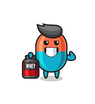 근육질 캡슐 캐릭터는 단백질 보충제, 티셔츠, 스티커, 로고 요소를 위한 귀여운 스타일 디자인을 들고 있습니다.
