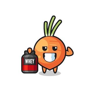 근육질의 당근 캐릭터는 단백질 보충제, 티셔츠, 스티커, 로고 요소를 위한 귀여운 스타일 디자인을 들고 있습니다.