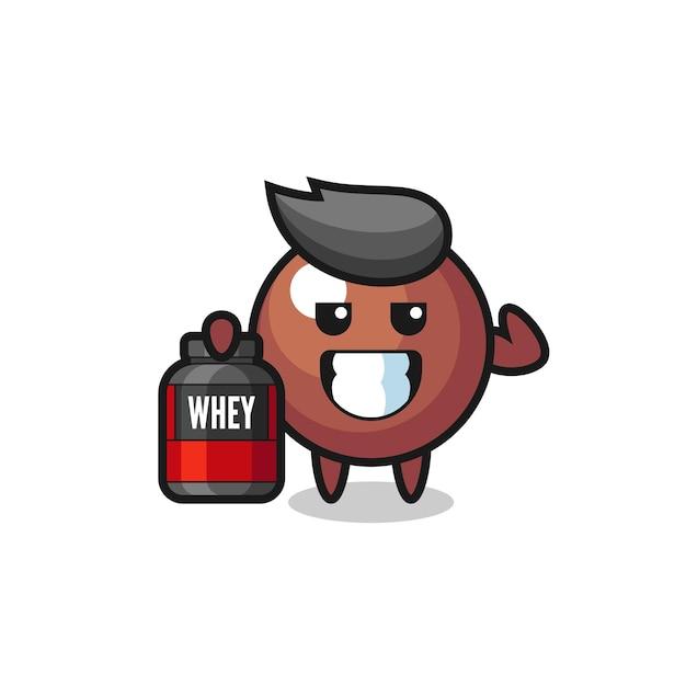 근육질의 초콜릿 볼 캐릭터는 단백질 보충제, 티셔츠, 스티커, 로고 요소를 위한 귀여운 스타일 디자인을 들고 있습니다.