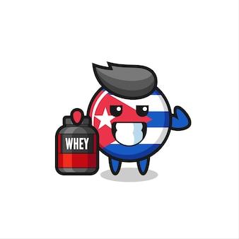 근육질의 쿠바 국기 배지 캐릭터는 단백질 보충제, 티셔츠, 스티커, 로고 요소를 위한 귀여운 스타일 디자인을 들고 있습니다