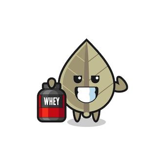 근육질의 말린 잎 캐릭터는 단백질 보충제, 티셔츠, 스티커, 로고 요소를 위한 귀여운 스타일 디자인을 들고 있습니다.