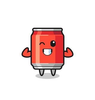 筋肉の飲み物缶のキャラクターは、彼の筋肉、tシャツ、ステッカー、ロゴ要素のかわいいスタイルのデザインを示してポーズをとっています