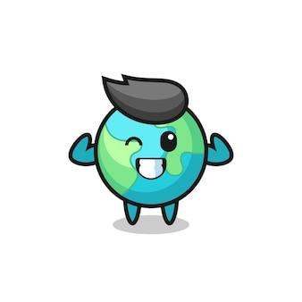 筋肉の地球のキャラクターは、彼の筋肉、tシャツ、ステッカー、ロゴ要素のかわいいスタイルのデザインを見せてポーズをとっています