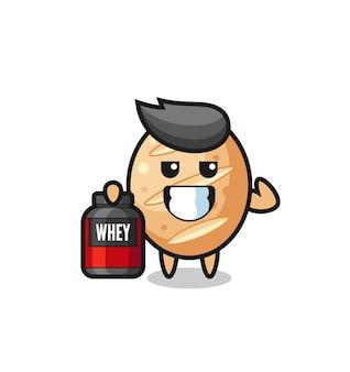 근육질의 프랑스 빵 캐릭터가 단백질 보충제, 귀여운 디자인을 들고 있다