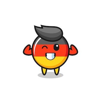 근육질의 독일 국기 배지 캐릭터는 그의 근육, 티셔츠, 스티커, 로고 요소를 위한 귀여운 스타일 디자인을 보여주는 포즈를 취하고 있습니다.