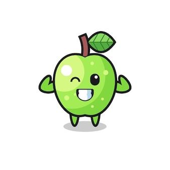 근육질의 녹색 사과 캐릭터가 근육을 보여주는 포즈를 취하고 있으며, 티셔츠, 스티커, 로고 요소를 위한 귀여운 스타일 디자인