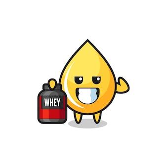 근육질의 꿀 드롭 캐릭터는 단백질 보충제, 티셔츠, 스티커, 로고 요소를 위한 귀여운 스타일 디자인을 들고 있습니다.