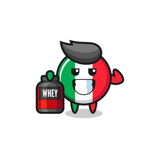 근육질의 이탈리아 국기 캐릭터는 단백질 보충제, 티셔츠, 스티커, 로고 요소를 위한 귀여운 스타일 디자인을 들고 있습니다.