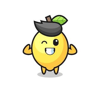 Мускулистый лимонный персонаж позирует, показывая свои мускулы, милый стиль дизайна футболки, наклейки, элемента логотипа