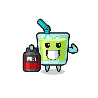 근육질의 멜론 주스 캐릭터는 단백질 보충제, 티셔츠, 스티커, 로고 요소를 위한 귀여운 스타일 디자인을 들고 있습니다.