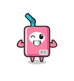 筋肉のミルクボックスのキャラクターは、彼の筋肉、tシャツ、ステッカー、ロゴ要素のかわいいスタイルのデザインを示してポーズをとっています
