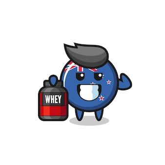 근육질의 뉴질랜드 국기 배지 캐릭터는 단백질 보충제, 티셔츠, 스티커, 로고 요소를 위한 귀여운 스타일 디자인을 들고 있습니다.