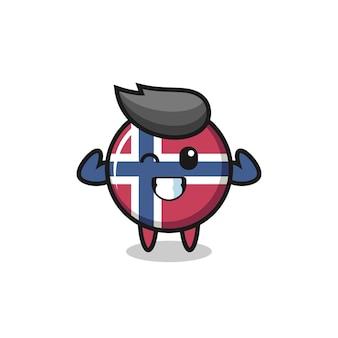筋肉のノルウェー国旗のバッジのキャラクターは、彼の筋肉、tシャツ、ステッカー、ロゴ要素のかわいいスタイルのデザインを示してポーズをとっています
