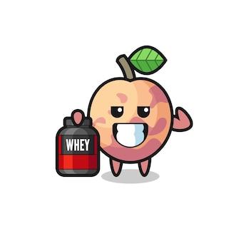 근육질의 플루트 과일 캐릭터는 단백질 보충제, 티셔츠, 스티커, 로고 요소를 위한 귀여운 스타일 디자인을 들고 있습니다.